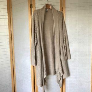 size 3X tan knit waterfall open cardigan old Navy